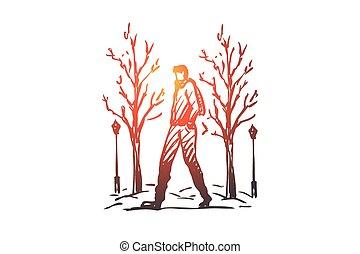 dessiné, isolé, main, homme, hiver, parc, concept., saison, marche, vector.