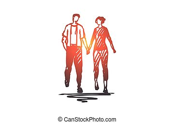 dessiné, isolé, romance, date, main, amour, couple, concept., marche, vector.