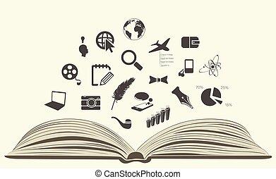 dessiné, livre, ouvert, icônes