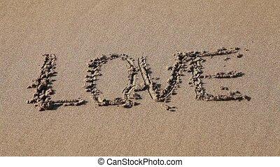 """dessiné, """"love"""", sable, mot"""