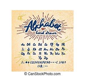 dessiné, main, alphabet