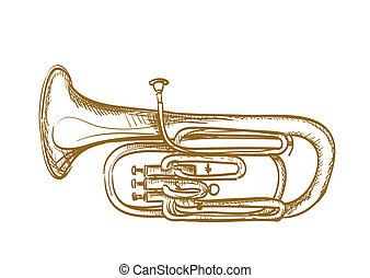 dessiné, main, baritone, corne