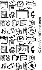 dessiné, main, doodles, film