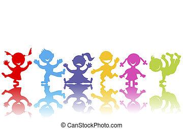 dessiné, main, enfants, coloré