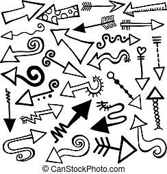 dessiné, main, flèche, doodles