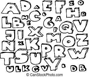 dessiné, main, griffonnage, alphabet