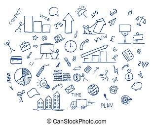 dessiné, main, griffonnage, business, élément