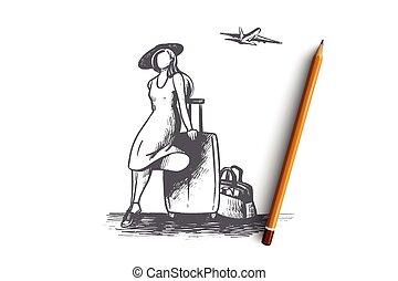 dessiné, main, isolé, concept., vector., voyage, temps