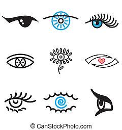 dessiné, main, oeil, icônes