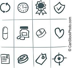 dessiné, monde médical, main, icônes