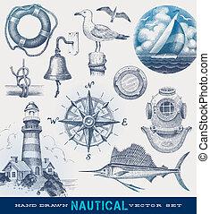 dessiné, nautique, vecteur, ensemble, main