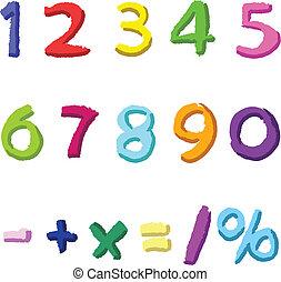 dessiné, nombres, coloré, main