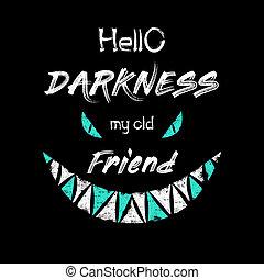 dessiné, obscurité, mon, isolé, composition, main, art, dents, noir, typographie, ami, effrayant, bonjour, minimalistic, yeux, conceptuel, texte, croquis, terrifiant, monstre, sur, conception, vieux, halloween., arrière-plan.