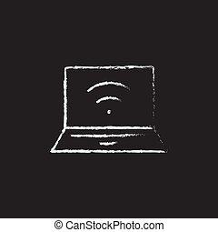 dessiné, ordinateur portable, icône, chalk.