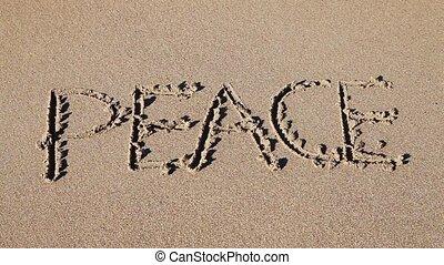 dessiné, sable, 'peace', mot
