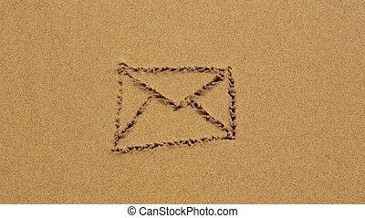 dessiné, sable, plage., enveloppe, hd.