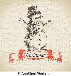 dessiné, snowman., noël, illustration, main