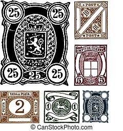 dessiné, timbres, vecteur, retro, main