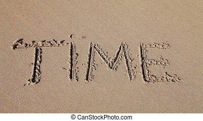 """dessiné, """"time"""", sable, mot"""