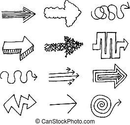 dessiné, vecteur, ensemble, flèche, main
