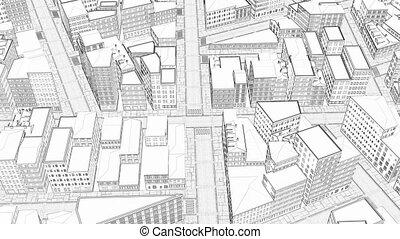dessin, 3d, scène, urbain, croquis, ville