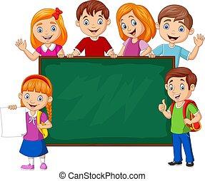 dessin animé, école, tableau, enfants