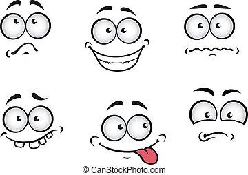 dessin animé, émotions, faces
