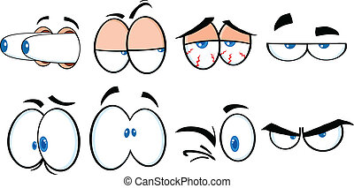dessin animé, 2, collection, yeux