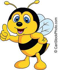 dessin animé, abeille, haut, pouce