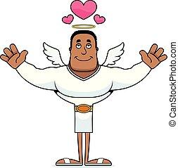 dessin animé, ange, étreinte