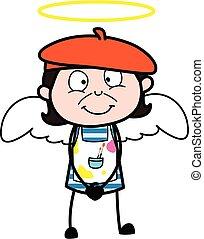 dessin animé, ange, artiste, déguisement