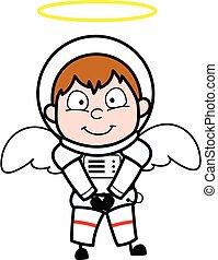 dessin animé, ange, astronaute, déguisement