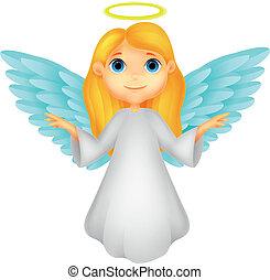 dessin animé, ange, blanc