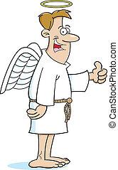 dessin animé, ange, homme