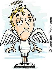 dessin animé, ange, triste