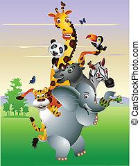 dessin animé, animal, africaine, sauvage