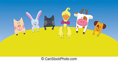 dessin animé, animaux, carte, ferme