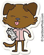 dessin animé, autocollant, chien, attachez comité