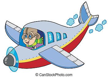 dessin animé, aviateur