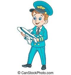 dessin animé, avion jouet, avion, pilote