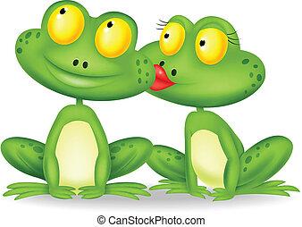 dessin animé, baisers, grenouille