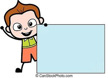 dessin animé, bannière, vide, écolier