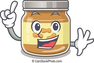 dessin animé, beurre arachide, style, doigt, une, caractère, mascotte