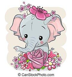 dessin animé, blanc, flowerson, fond, éléphant