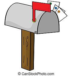 dessin animé, boîte lettres