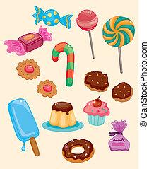 dessin animé, bonbon, icône