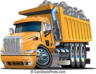 dessin animé, camion, vecteur, décharge
