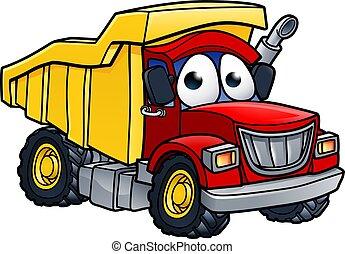 dessin animé, caractère, camion, décharge