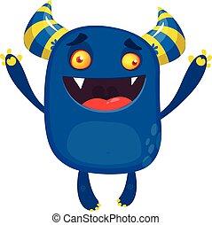 dessin animé, caractère, monster., vecteur, heureux