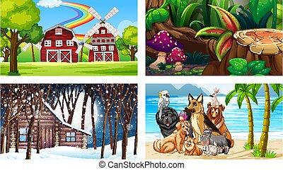 dessin animé, caractère, scènes, animaux, divers, quatre, différent